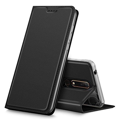 Nokia 6 2018 Hülle, iBetter Nokia 6 2018 Flip Bookstyle Kompletter Hüllen Mit Magnetverschluss und Standfunktion Tasche Etui Hüllen Schutzhülle für Nokia 6 Dual SIM Smartphone VERSION 2018(Schwarz)