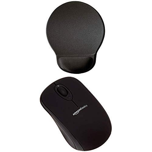 Durable Ergonomisches Gel-Mauspad 574858 (Ergotop mit Gel, 230 x 260 x 26 mm) mit AmazonBasics Schnurlose Maus mit Nano-Empfänger