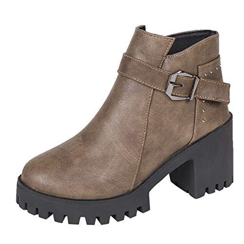 BHYDRY Fashion Niet runder Kopf Schnalle mit dickem Absatz Ankle-Boots (35,Khaki) -
