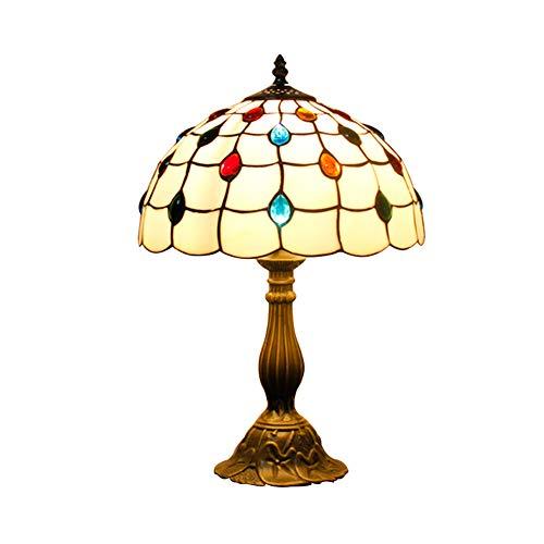 Saphir-tisch (CCSUN Retro Tisch lampe schlafzimmer,Tiffany stil Saphir glasschirm Wohnzimmer schreibtisch lampe W11.8 H17.7 zoll Für Dekoration Restaurant Nachttisch schreibtischlampe-A)