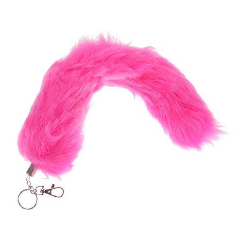Kunstlich Fuchsschwanz Taschenanhänger Einfarbig Fuchsschweif Schlüsselanhänger Rucksack Deko Anhänger Metall Schlüsselbund Damentasche Deko 34cm (Pink)