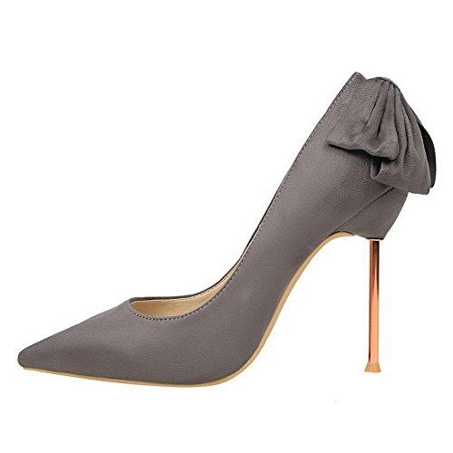 AalarDom Femme Stylet Pointu Tire Couleur Unie Chaussures Légeres Gris-Dépolissement