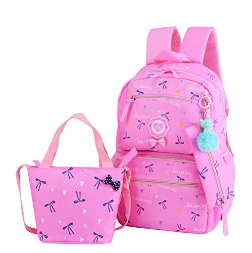 FLHT, Mädchen Schulranzen Rucksack, Wasserdicht Und Leicht 6-10 Jahre Alt Große Kapazität 1-3-4 Klasse Grundschüler Schultasche Reiserucksack,Pink-OneSize -