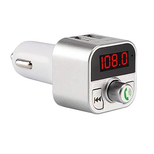 TianranRT Dual USB Bluetooth4.1 Freisprecheinrichtung Auto Kit Ladegerät UKW Sender MP3 Player A2B3 (Silber) - Ipod Shuffle Fm Transmitter