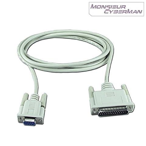 Câble adaptateur Série DB25M DB9F Modem Blindé Croisé RS-232 Imprimante Ticket