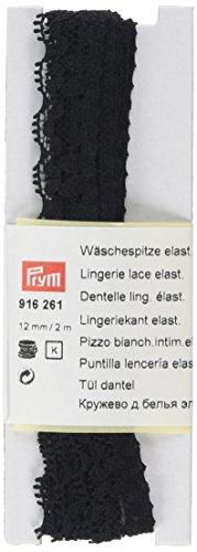 Prym Blumen Design aus Elastische Dessous Spitze, Polyester, Schwarz, 12mm, 2m