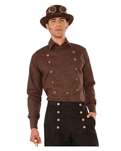 Genial Larp Kostüme (Steampunk Hemd mit Knöpfen für Gothic und LARP Events)