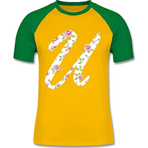 Anfangsbuchstaben - U Rosen - zweifarbiges Baseballshirt für Männer Gelb/Grün
