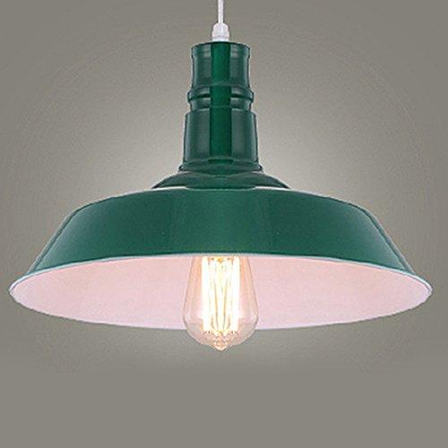 BAYCHEER Lampe Suspensions Lustre Abat-jour en Métal Style Bol Rétro Industriel Eclairage Decoratif-Vert