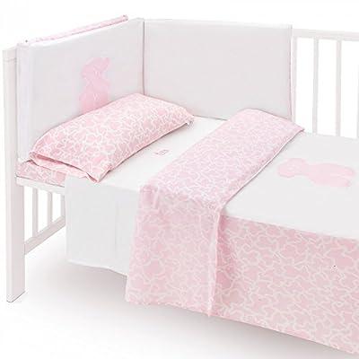Tous Baby Textil Cuna 60x120 Protector de Barras y Funda Nórdica Ref,Hom-04 Color Rosa
