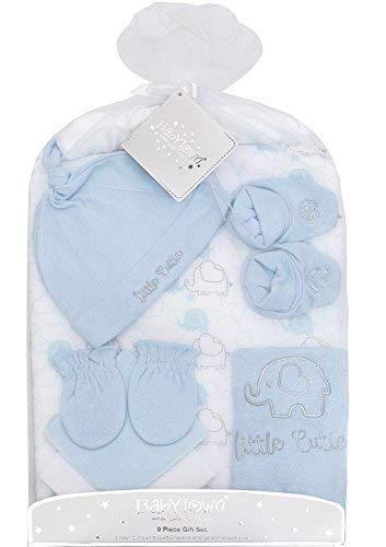 9 PIECE bébé garçon fille unisexe Set cadeau babytown nouveau-né vêtements tenue broderie impression rose & Bleu - Bleu (garçon), 9 Pièces