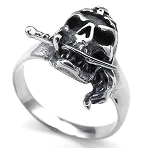 Stainless Steel Ring for Men, Skull Ring Gothic Silver Band 13MM Size P 1/2 Epinki