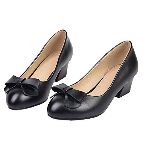 COOLCEPT Femme Mode A Enfiler Escarpins Bout Ferme Chaussures Bloc Avec Boucles Noir