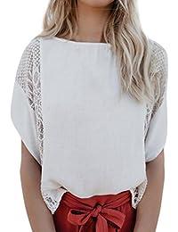 KIMODO Damen Bekleidung 2019 T Shirt Blusen Top Damen Weiß Fledermausärmel  Spitze Sommer Mode Freizeithemd c06eb82f70
