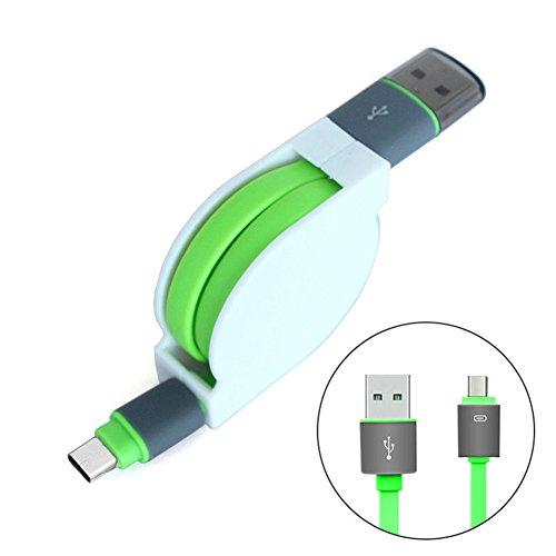 Preisvergleich Produktbild Interesting® Green 1M Quick Charger Einziehbares TPE USB 3.1 Typ C Daten Ladegerät Ladekabel