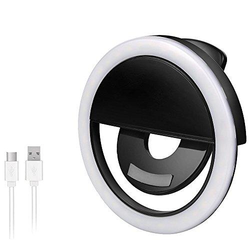 AURSTORE Selfie Light Ring,Selfie Anneau Lumière Rechargeable (Noir)