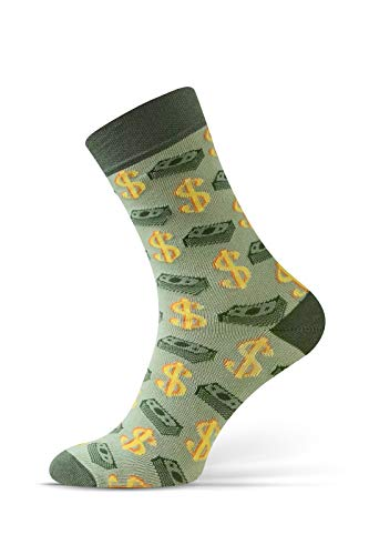 Sesto Senso® Lustige Socken Baumwolle Damen Herren 1er oder 3er Paar Wadensocken Unisex Wunderliche Seltsame Ungerade Fun Socks (43-46, Dollar - Oliv)