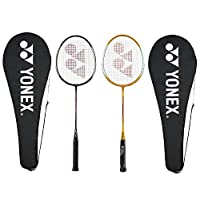 Yonex GR 303 Aluminum Blend Badminton Racquet with Full Cover, Set of 2 (Yellow/Black)