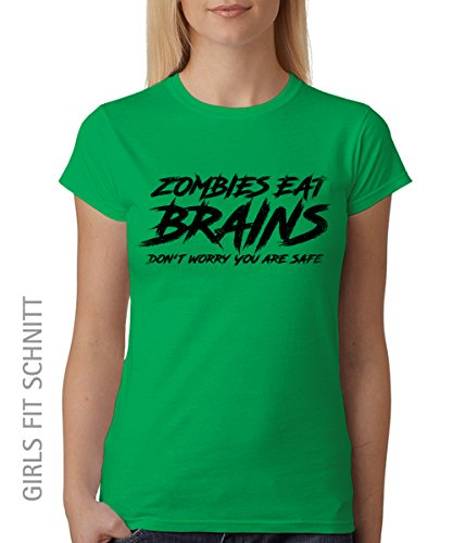 -- Zombies Eat Brains Don't Worry you are safe -- Girls T-Shirt Kelly Green, Größe XXL