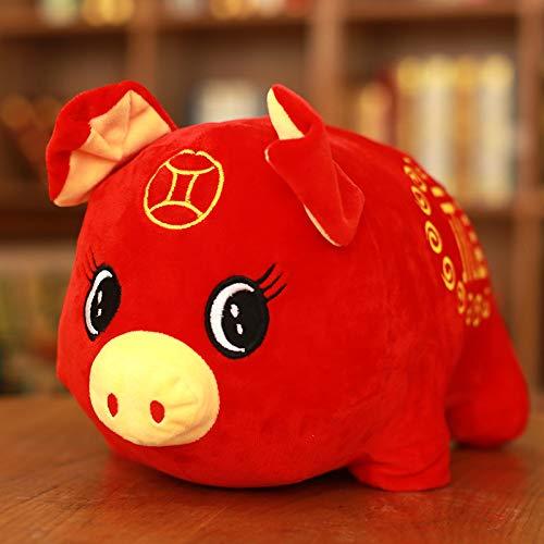 (LIYAN 2019 Schwein Jahr Gefüllt Plüsch Spielzeug Kreative Kissen Kissen Niedlich Weihnachten Neujahr Geschenk Home Decor Kinder Rot Sternzeichen Schwein Segen Chinesischen Stil,25CM)