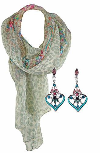 Geschenk Set Frauen Ein stilvolles Accessoire Halstuch langer Schal mit Seide Vintage Hänge-Ohrringe mit Kristallen Antik silberfarben