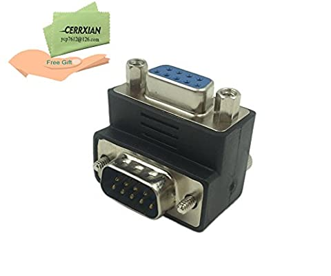 CERRXIAN 90 Degree DB9 9 Pin Male to Female Extension Cable Converter Adapter Coupler