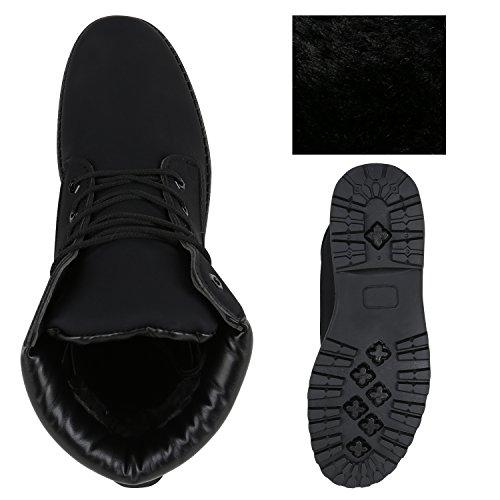 Stiefelparadies Herren Worker Boots Outdoor Schuhe Warm Gefüttert Profil Sohle Flandell Schwarz Camiri
