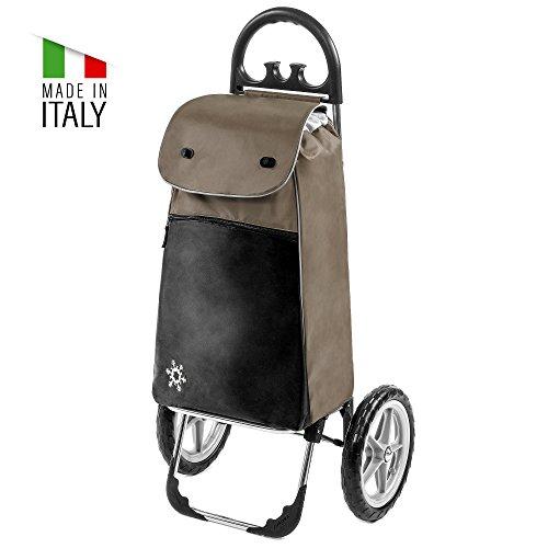 Moderner Einkaufstrolley Esana in braun mit 55L & Kühlfach - Transport-Wagen Trolley mit großen Rädern - Einkaufsroller bis 30kg belastbar - Gewicht nur 2.45kg