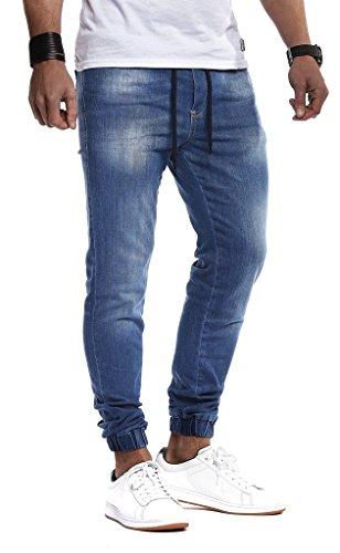 Leif Nelson Herren Jeans Hose Slim Fit Denim Blaue graue Lange Jeanshose für Männer Coole Jungen weiße Stretch Freizeithose Schwarze Cargo Chino Sommer Winter Basic LN1220N Blau W29/L32