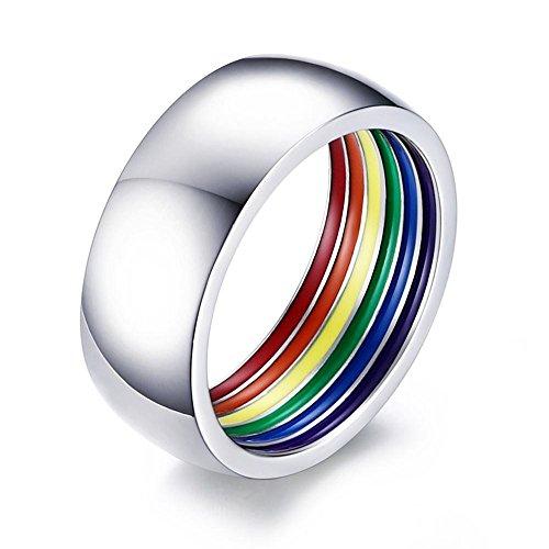PJ JEWELLERY Edelstahl 8mm Breite poliert gewölbt Regenbogen Streifen Flagge innerhalb Gay Pride Trauringe,Größe 54 (17.2) (Pj Top Streifen)