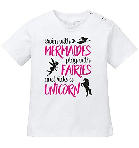 lay with Fairies and ride a Unicorn - Schwimme mit Meerjungfrauen spiele mit Elfen und reite ein Einhorn - Bio Baby T-Shirt (Mermaid 1. Geburtstag)