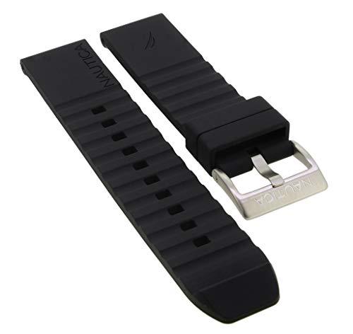 Nautica Ersatzband | Uhrenarmband aus Silikon in schwarz mit Schließe silberfarben | A12637G