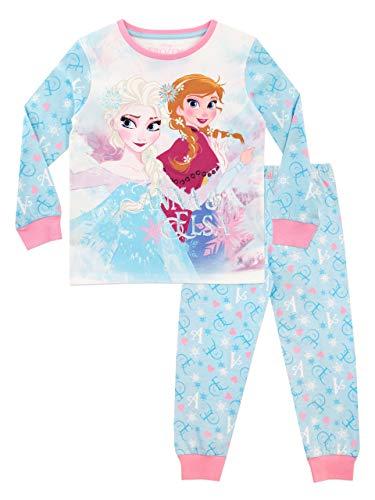 Disney - pigiama a maniche lunghe per ragazze - il regno di ghiaccio - frozen - blu - 5-6 anni