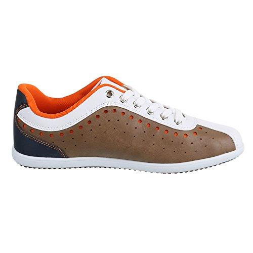 Chaussure homme, kS 1071–1, baskets Braun Weiß
