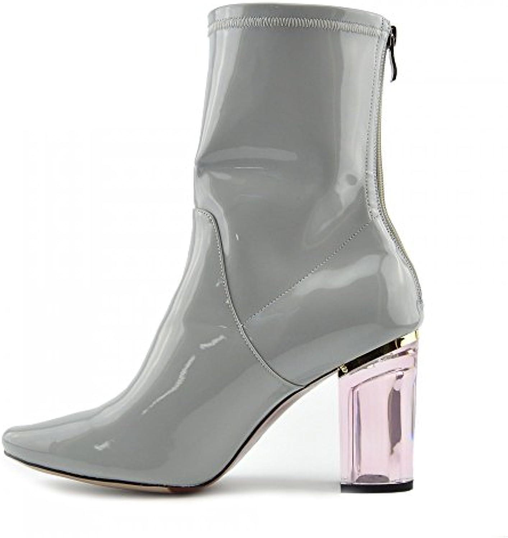 Damas Botas De Tobillo Transparente De Metacrilato Bloque De Tacón Alto Zapatos De Moda