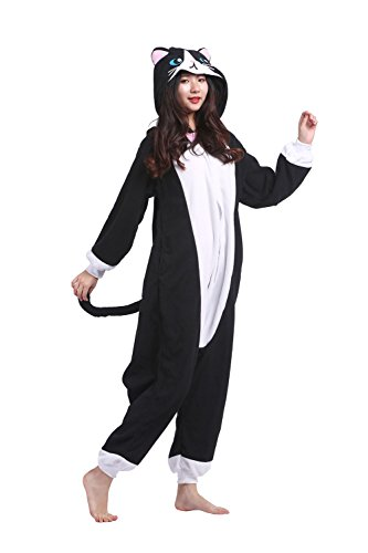 ts Unisex Onesies Pyjamas Halloween Cosplay Weihnachten Kostüme Neue Black Cat Medium (Cat Damen Halloween Outfits)