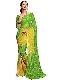 Roop Kashish Women's Saree Bandhani Saree Green Printed Chiffon Saree With Blouse_RKRU2303B