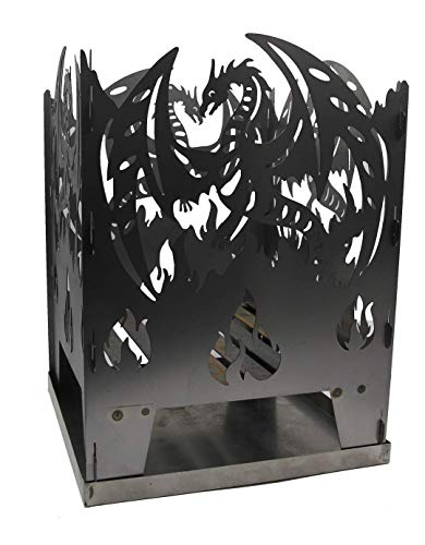WIDA Feuerkorb Motiv Drache Metall mit Ascheschale