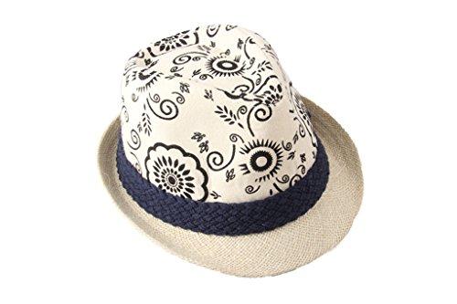 Dantiya Homme Unisexe Chapeau de Soleil Panama en Lin avec Fleur Classique Plage Été 4 Couleurs Noir