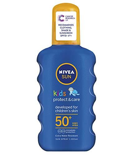 NIVEA SUN Kids Spray Protect & Play coloré FPS 50+ (1x200 ml), protection solaire hydratante...