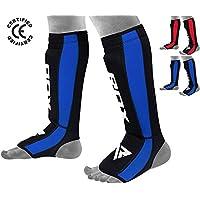 RDX SGN-T6B - Espinilleras boxeo para hombre, color azul, talla L/XL