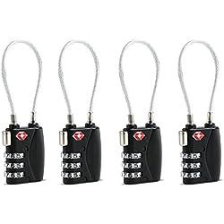 OULII 4pcs TSA aprobado cerraduras candados candado de combinación de 3 dígitos equipaje cerraduras (negro)