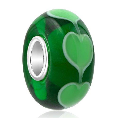 Korliya charm a forma di cuore in argento sterling 925vetro di murano per bracciale e argento, colore: green, cod. emw_gb_tjysss19