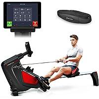 Sportstech Rameur RSX500 ergomètre air + Freins magnétiques, Ceinture Cardio optionnelle, Poids d'inertie 7 kg, Applications Fitness, 16 programmes d'entraînement, Pliable