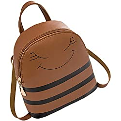 bigcity Women's Backpack Handbags Cute Smiling Face Stripes Faux Leather Girls School Travel Bag Leisure Backpack