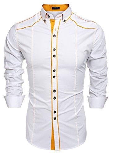 Coofandy camicie uomini casual cotone manica lunga colletto dritto button down bianco s
