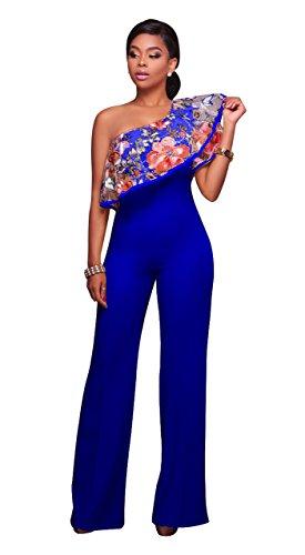 Honeystore Damen's Floral Off Shoulder Kleid Stretchkleid Partykleid Bodycon Pencil Kleider Knielang mit Blumen Blau (Sie Mieten Kostüme Online)