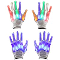 OTOTEC 2 Pairs Flashing LED Gloves Cool Fun Light-Up Toys Magic Props Finger Lighting Dance Party Decoration Supplies