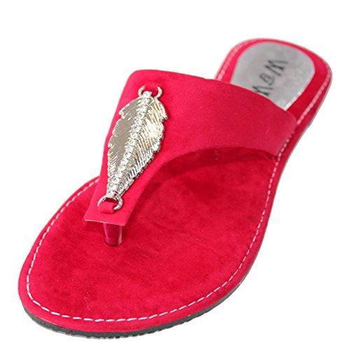 W & W femmes Mesdames Soir antidérapant sur décontracté plat sandales chaussures Confort Taille, bleu, rouge (san509) Rouge - rouge