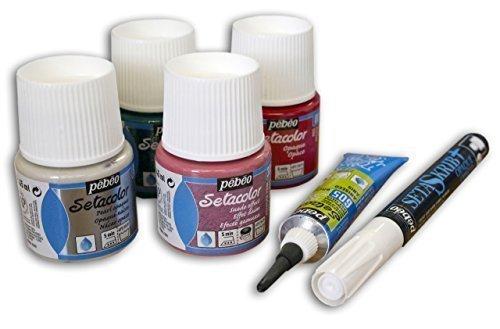Set de regalo con un ejemplo de un lápiz de textil para una serie de efecto barniz para experimentar y crea. 1x 45ml Opaque Paint Pot (rojo) 1x 45ml en ante de imitación (Color Rosa) 1x 45ml, Pearl opaco Pot (azul) x 45ml, 1cajita de purpurin...